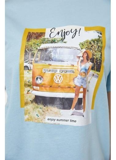 Setre Bej Baskılı Kısa Kol T-Shirt Mavi